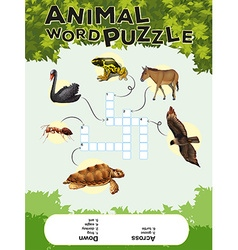 Game template for animal word puzzle vector
