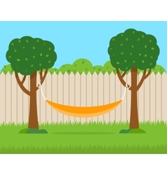 Hammock with trees on house backyard vector image