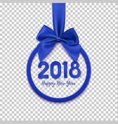 happy new year 2018 round banner with blue ribbon vector image