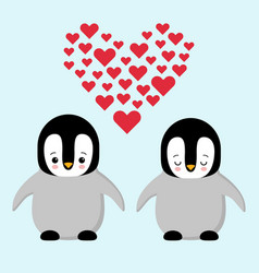 happy valentines day couple in love penguins vector image