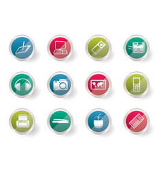 hi-tech technical equipment icons vector image
