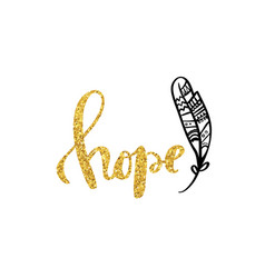 Hope gold calligraphy poster design vector