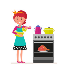 housewife or maid with a mixer in her hands vector image