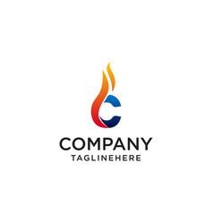 Initial letter c fire logo design fire company vector