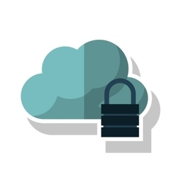 Isolated cloud with padlock design vector image