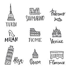 Italian symbols vector image
