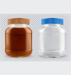 Jar chocolate spread and empty glass jar 3d vector