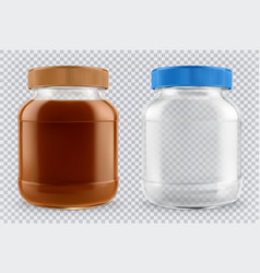 jar of chocolate spread and empty glass jar 3d vector image