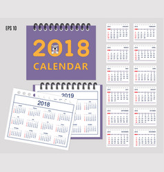 kids calendar for wall or desk year 2018 2019 vector image