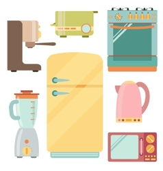 Kitchen appliances icons set kitchenware equipment vector image