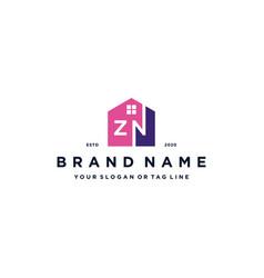 Letter zn home logo design vector