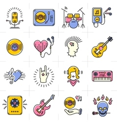 Line art music icons set rock punk jazz symbols vector