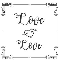 love love square frame design background im vector image