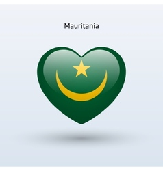Love Mauritania symbol Heart flag icon vector