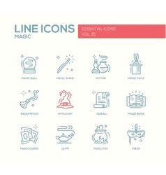 Magic - line design icons set vector