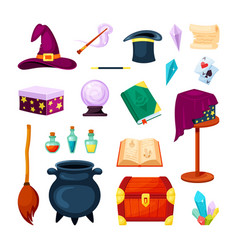magic wizard items set potion auldron wand vector image