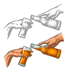 male finger pouring beer from bottle into glass vector image