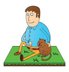 man and his pet vector image