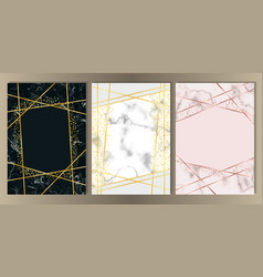 marble a4 card with gold line set vector image