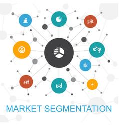 Market segmentation trendy web concept with icons vector