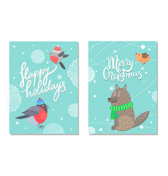 merry christmas and happy holidays 70s postcard vector image
