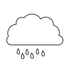 Monochrome contour of cloud with drizzle vector