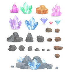 Natural crystals and stones set vector