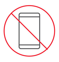 no phone thin line icon prohibition vector image