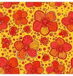 Orange flowers doodles seamless pattern vector image