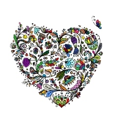 Ornate floral heart for your design vector image
