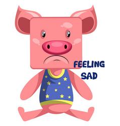 pig feeling sad on white background vector image