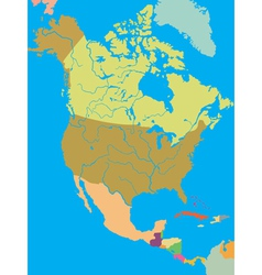 political map north america vector image