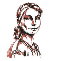 Portrait attractive dreamy woman vector