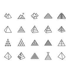 pyramid flat line icon set egyptian monument vector image