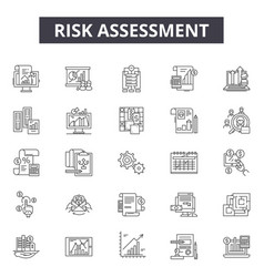 Risk assessment line icons signs set vector