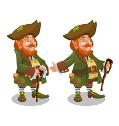 Saint patrick day character leprechaun with green vector
