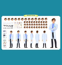 Scientist character creation set man working vector