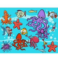 sea life group cartoon vector image