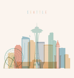 seattle state washington skyline silhouette vector image