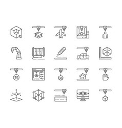 Set 3d printing line icons industrial printer vector