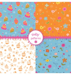 Set of doodle baby patterns vector