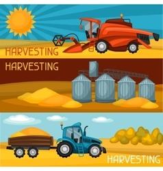 Set of harvesting banners Combine harvester vector