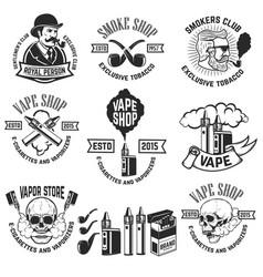 Set vape shop emblem templates smoke shop vector