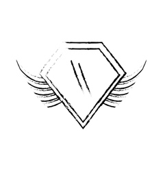 Shield insignia military winged sketch vector