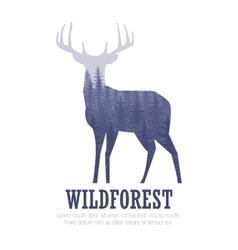 Silhouette of a deer with pine forest blue vector