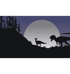 Silhouette of parasaurolophus and allosaurus vector