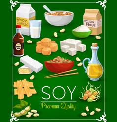 soy bean tofu milk and oil tempeh miso sauce vector image
