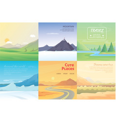 Summer landscape set mountains among the trees vector