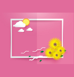 sunflowers with sun and clouds in white frame on vector image
