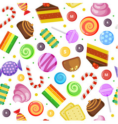 Sweets pattern biscuits cakes chocolate and vector